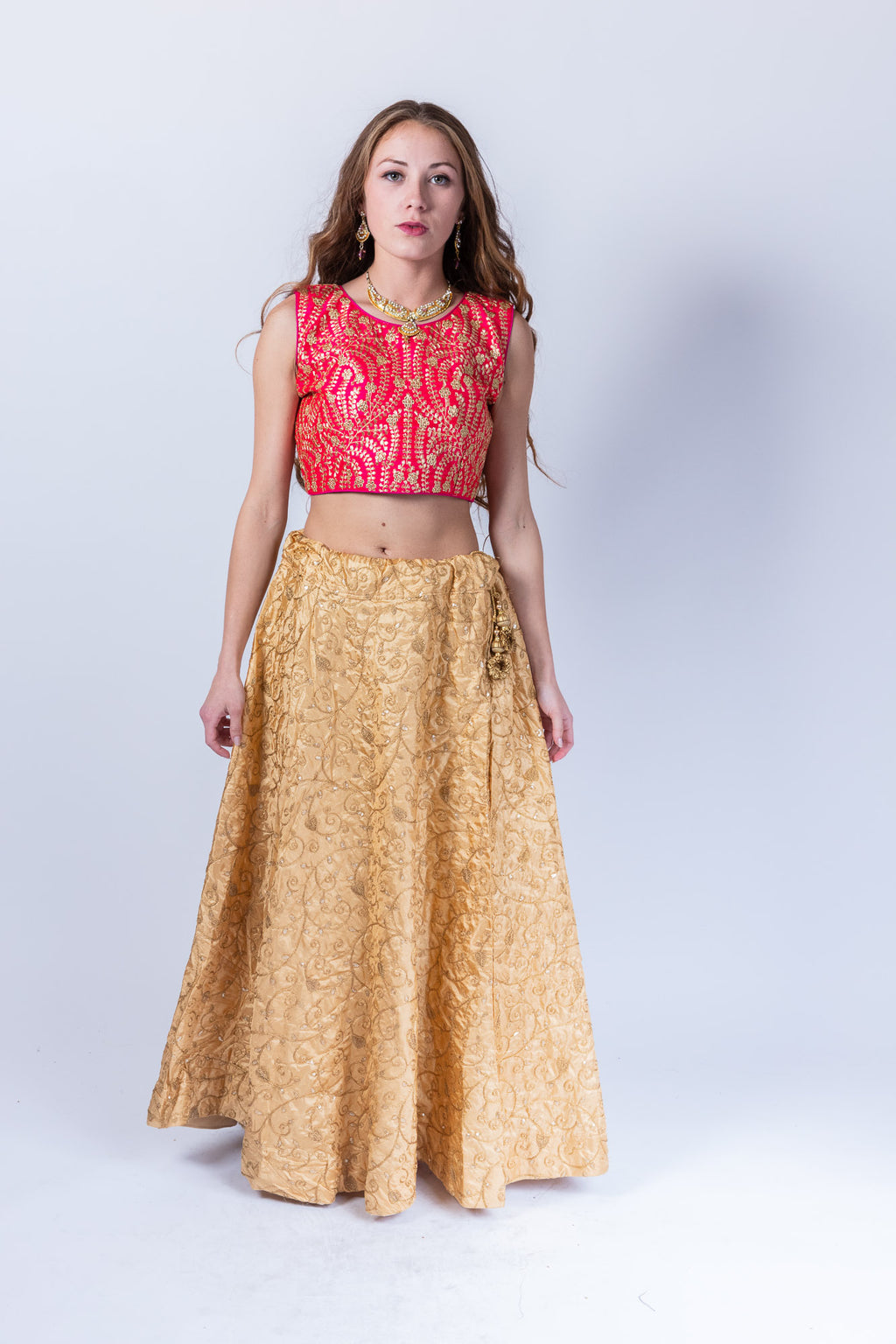 Silk Royal Gold Embroidered Lehenga Skirt