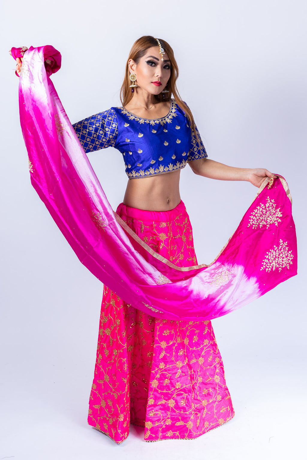 Fancy Silk Hot Pink Embroidered Lehenga Skirt