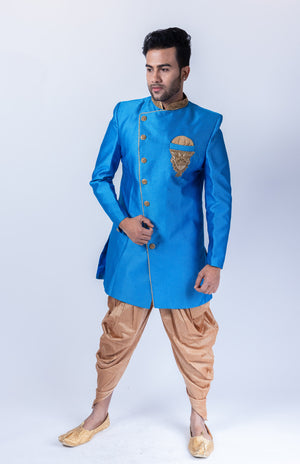 Silk Brocade Asymmetric Deep Sky Blue Embroidered Medium Long Sherwani / Jacket
