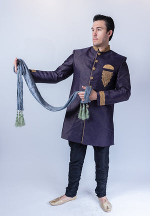 Silk Brocade Embroidered Egyptian Blue Sherwani / Jacket