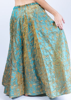 Silk Sage Green Embroidered Lehenga Skirt