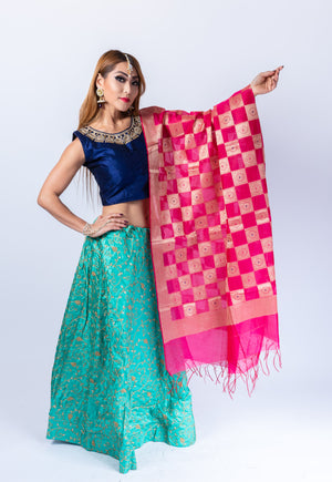 Silk Turquoise Blue Embroidered Lehenga Skirt