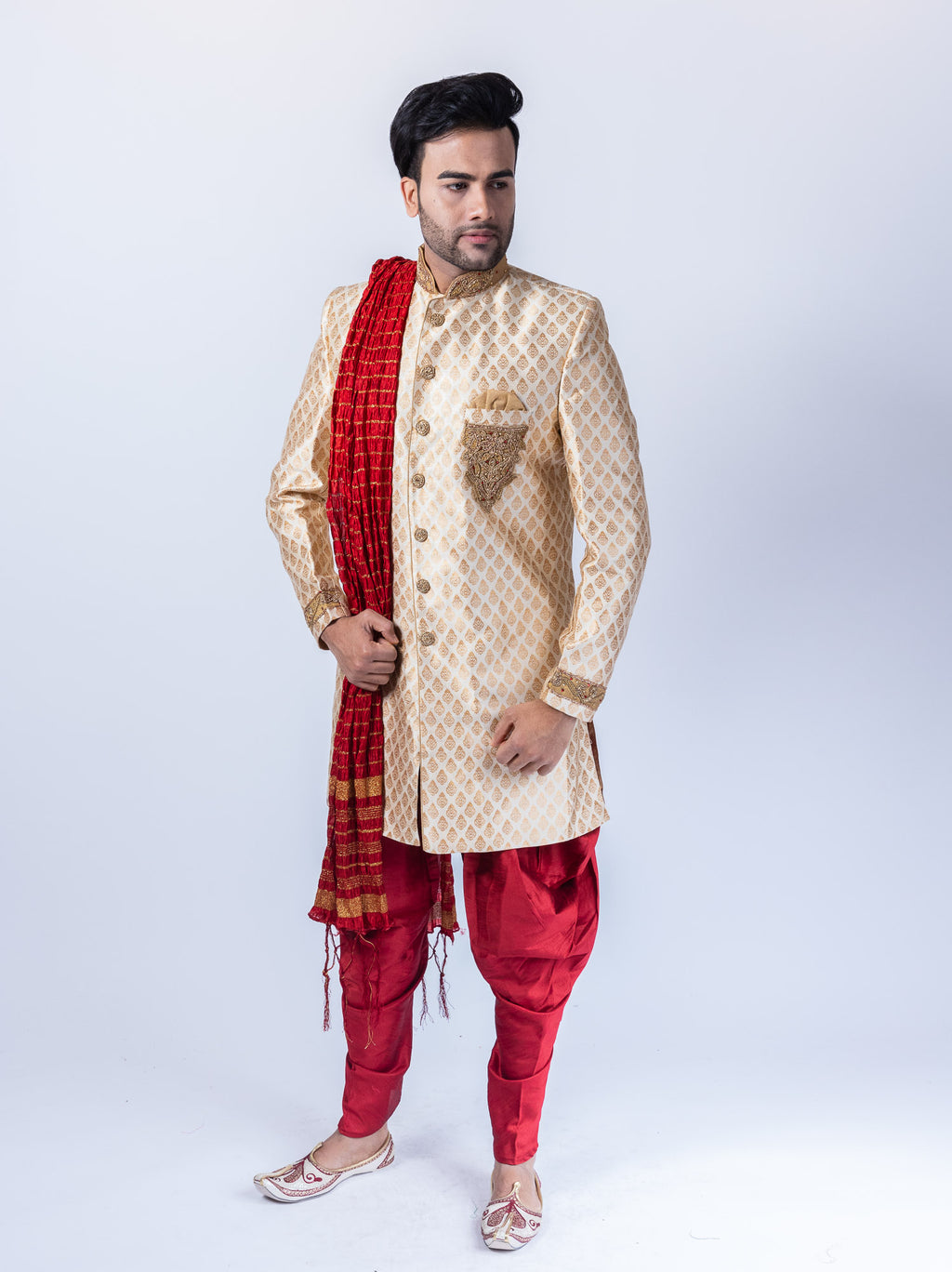 Silk Brocade Embroidered Banana Yellow Sherwani / Jacket