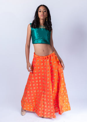 Fancy Silk Tiger Orange Embroidered Lehenga Skirt