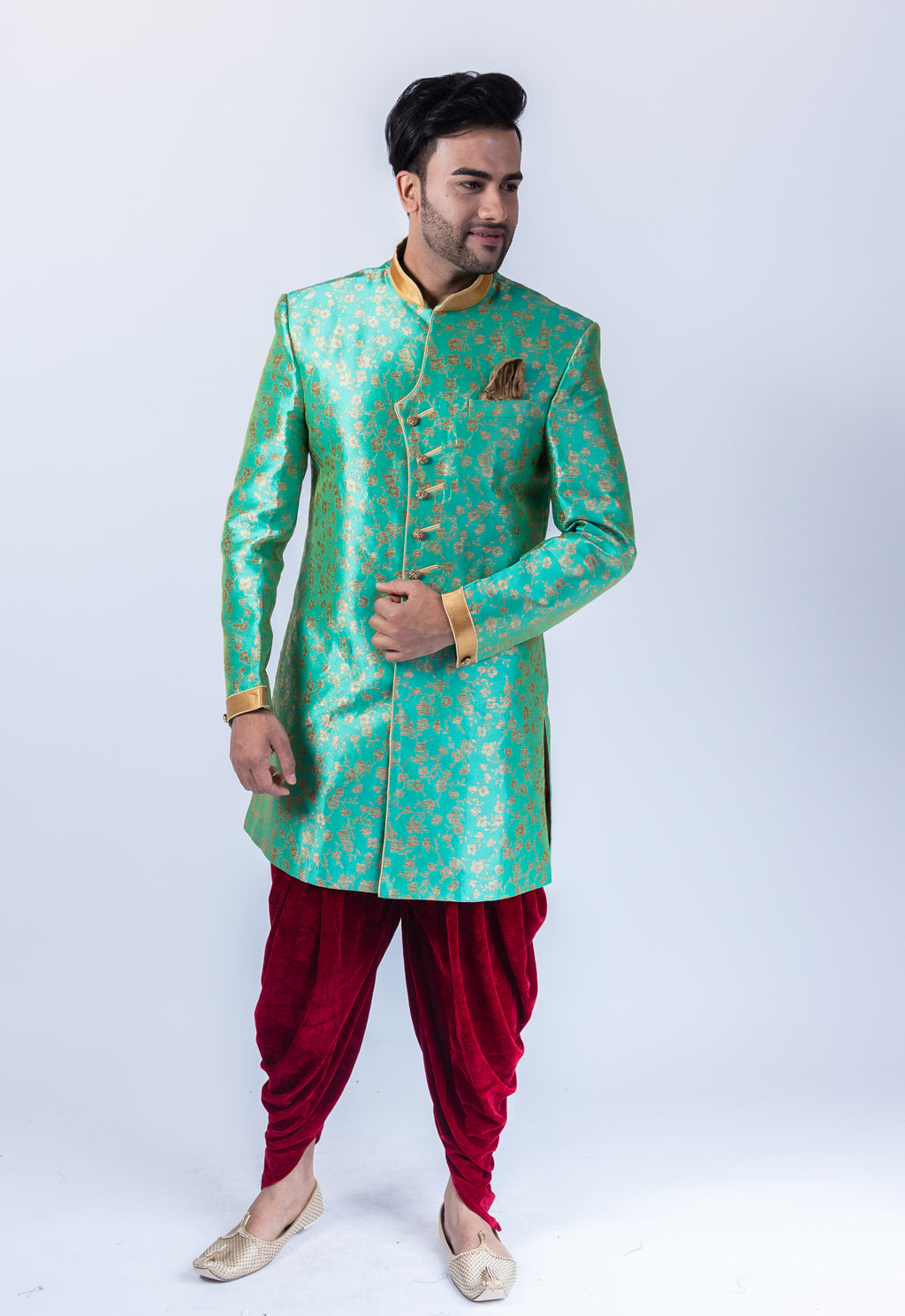 Silk Jade Green Self  Floral Print Sherwani / Jacket