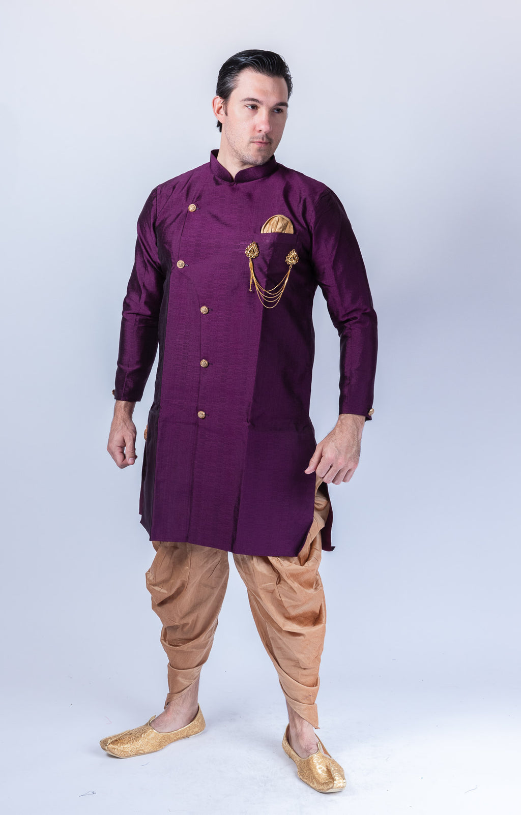 Silk Asymmetric Grape Purple Long Sherwani / Jacket