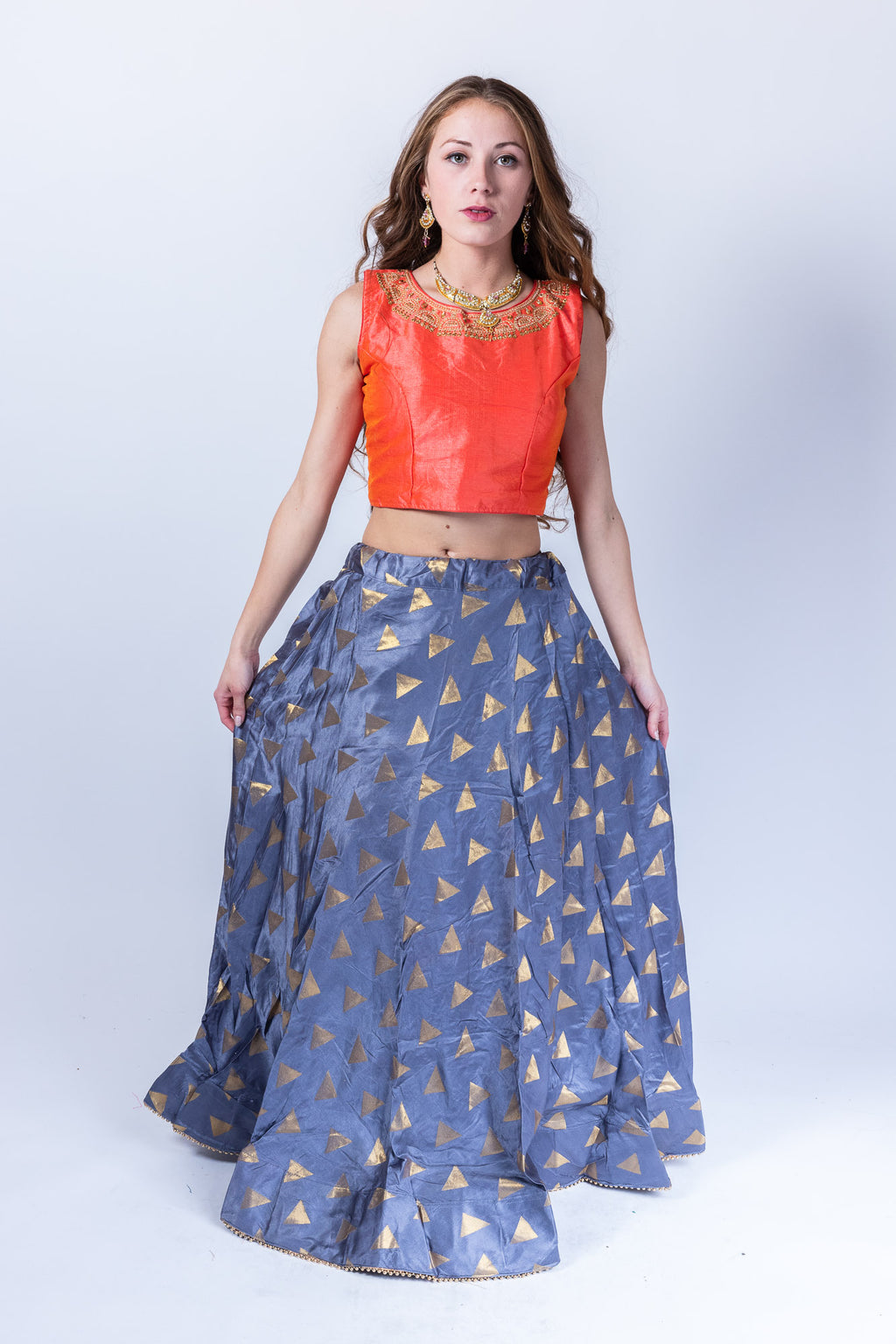Silk Pigeon Blue Lehenga Skirt