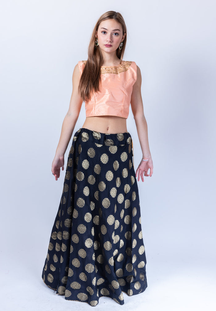 Silk Brocade Crow Black Lehenga Skirt