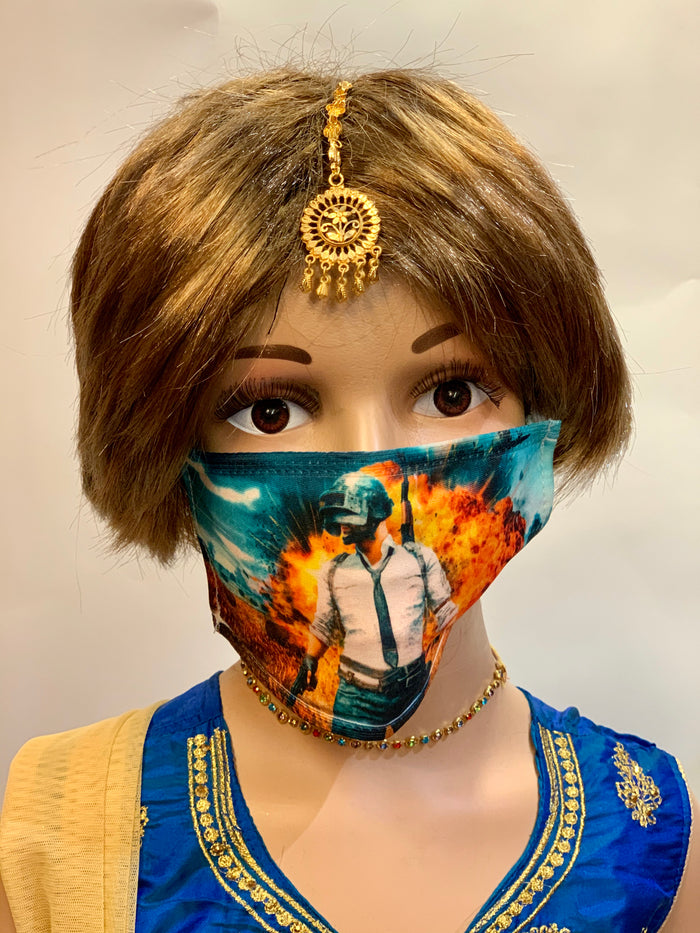 Kid's PUBG Mobile Characters Unisex Digital Printed Cloth Face Masks