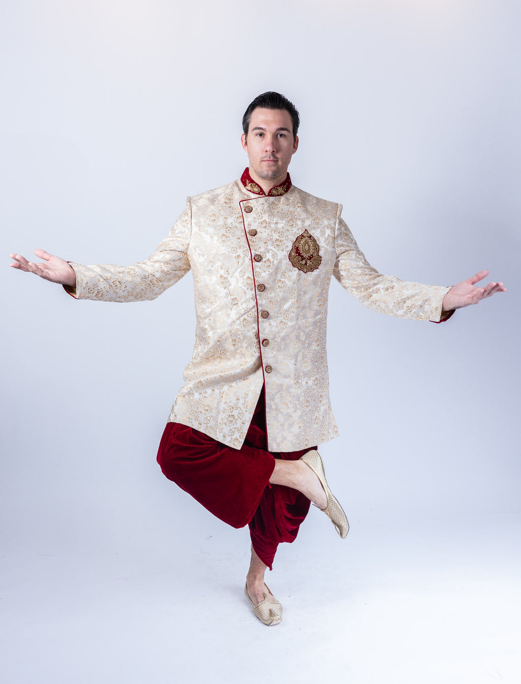 Silk Brocade Asymmetric Daisy White Long Sherwani / Jacket