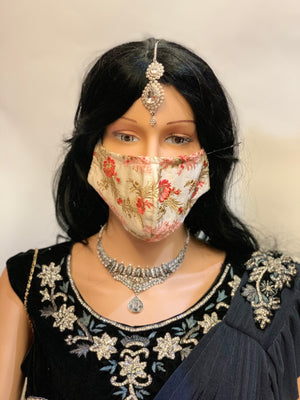 Hand Embroidered Fancy Beige Floral Cloth Face Masks