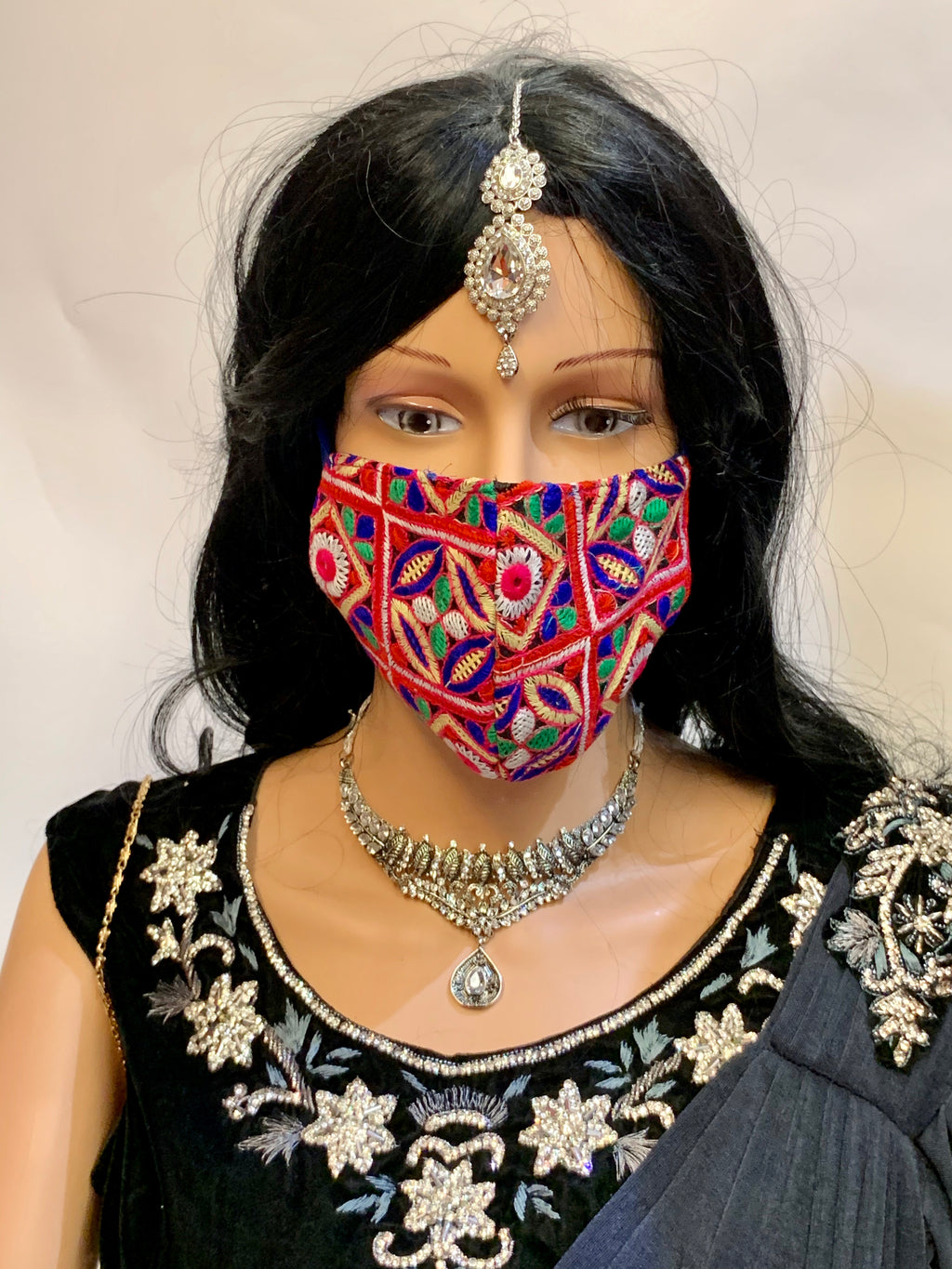 Hand Embroidered Fancy Floral Multi Colored Cloth Face Masks