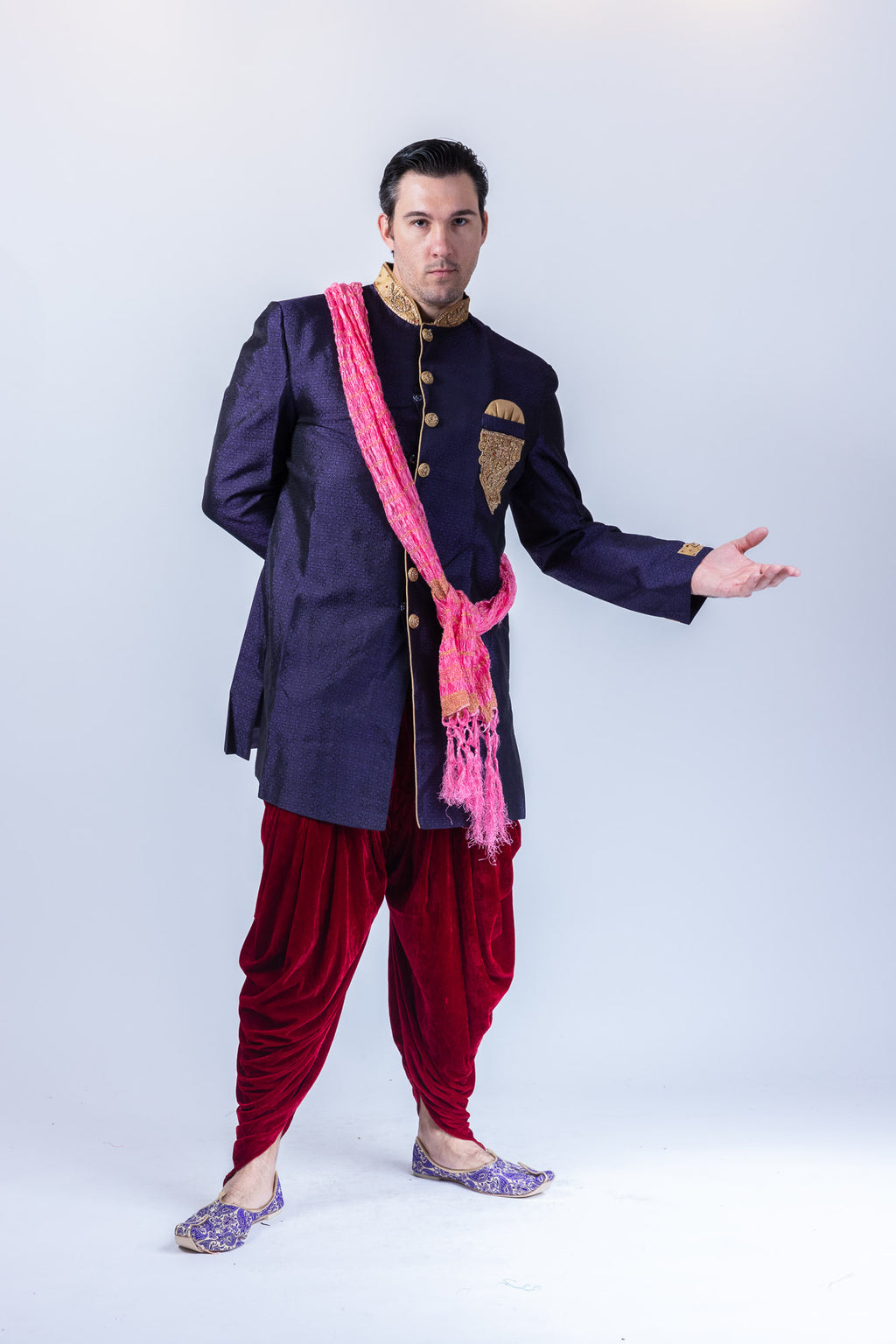 Silk Brocade Embroidered Eggplant Purple Sherwani / Jacket