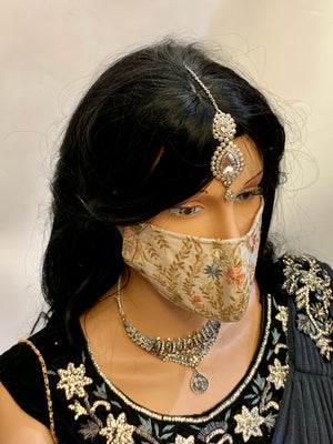 Hand Embroidered Beige With Gold Work Floral Fancy Unisex Cloth Face Masks