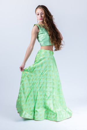 Silk Jhumki Motif Mint Green Lehenga Skirt