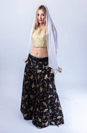 Fancy Silk Jet Black Heavy Embroidered Lehenga Skirt