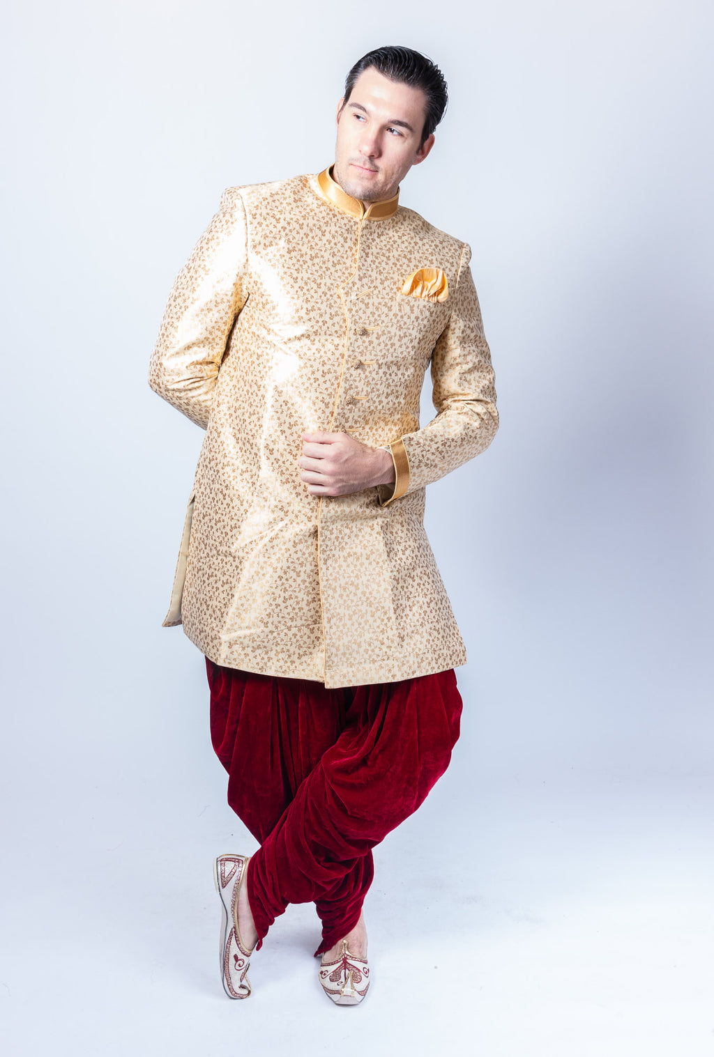 Silk Banana Yellow Gold Self Floral Print Sherwani
