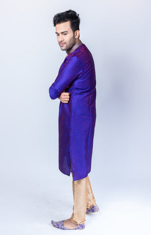 Silk Brocade Eggplant Purple Men's Kurta