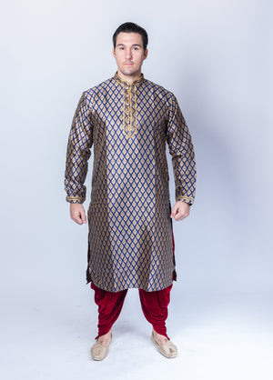 Silk  Brocade Royal Blue Men's Kurta