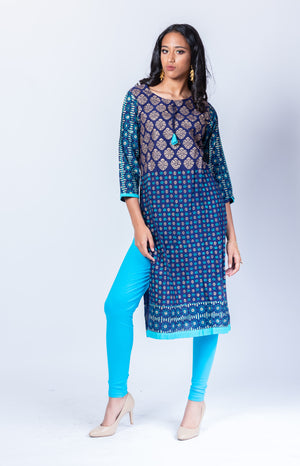 Block Printed Cotton Prussian Blue Kurta