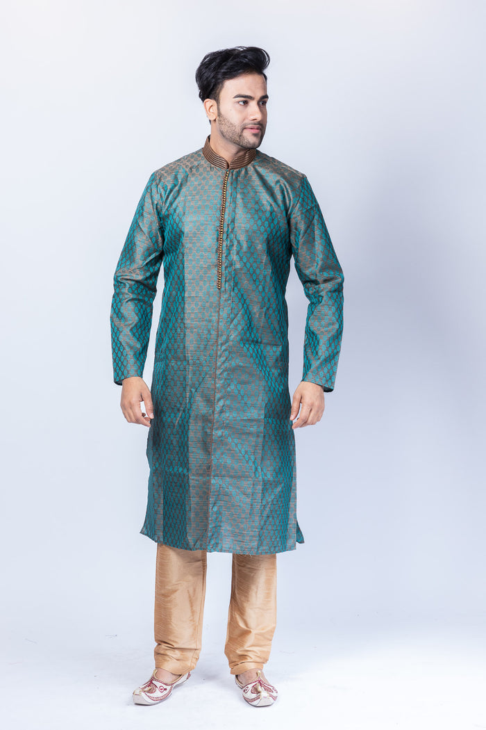 Silk Ash Grey With Pine Green All Button Down Men's Kurta
