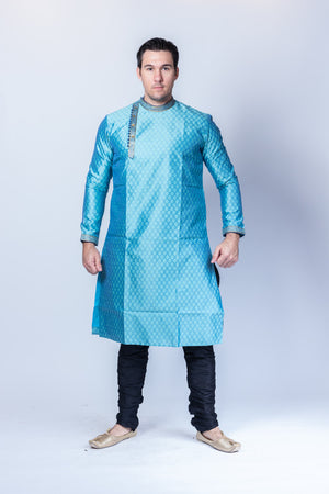 Silk  Brocade Maya Blue Side Button Men's Kurta