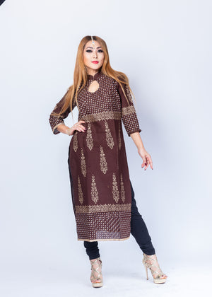 Block Printed Cotton Syrup Brown Kurta