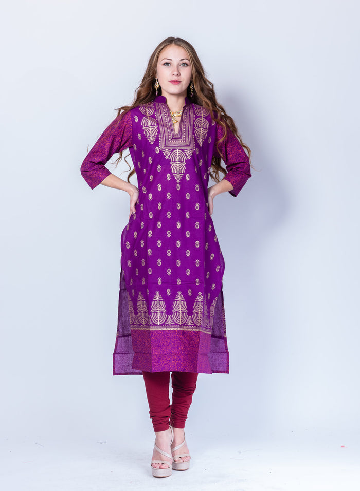 Cotton Block Printed Violet Kurta