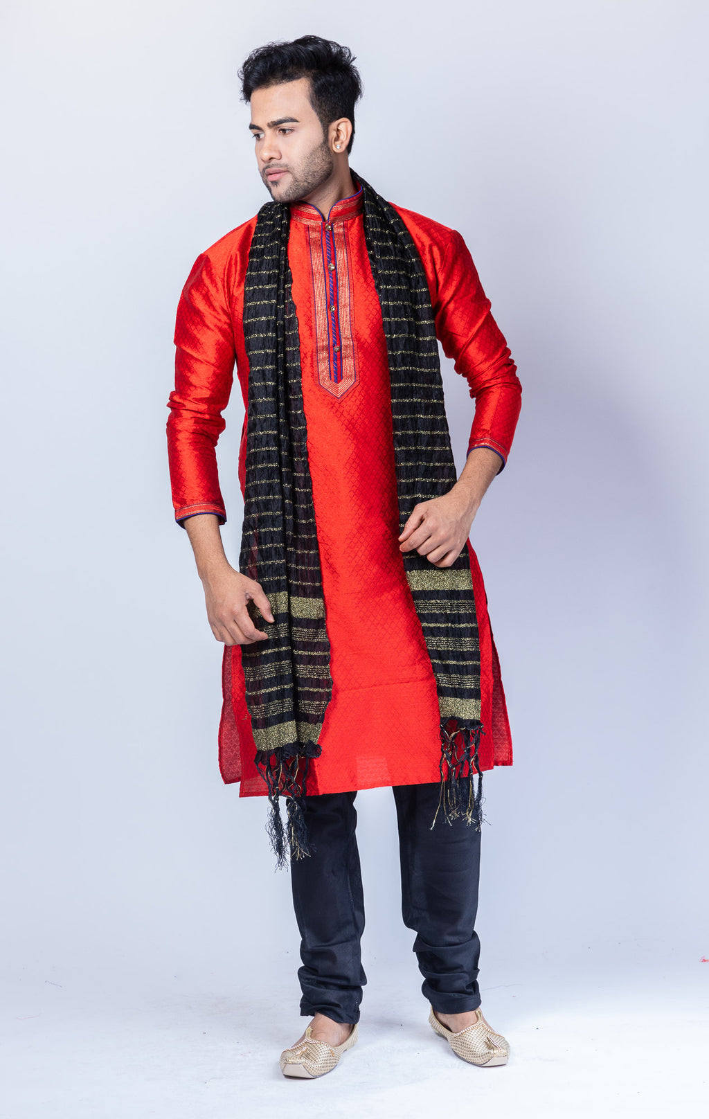 Silk Crimson Red Men's Kurta