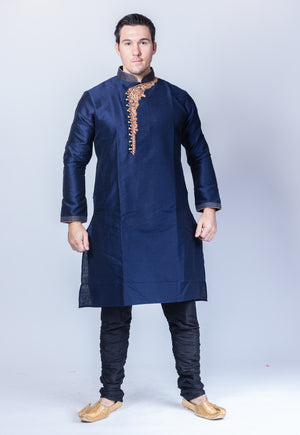 Silk Embroidered Space Blue Men's Kurta