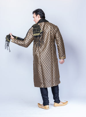 Silk Brocade Charcoal Black Men's Kurta
