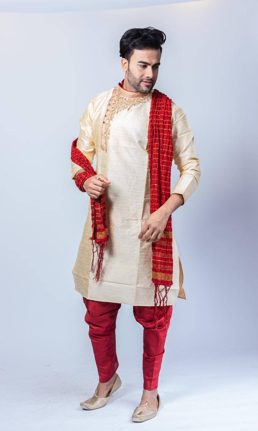 Silk Embroidered Cream White Men's Side Button Kurta