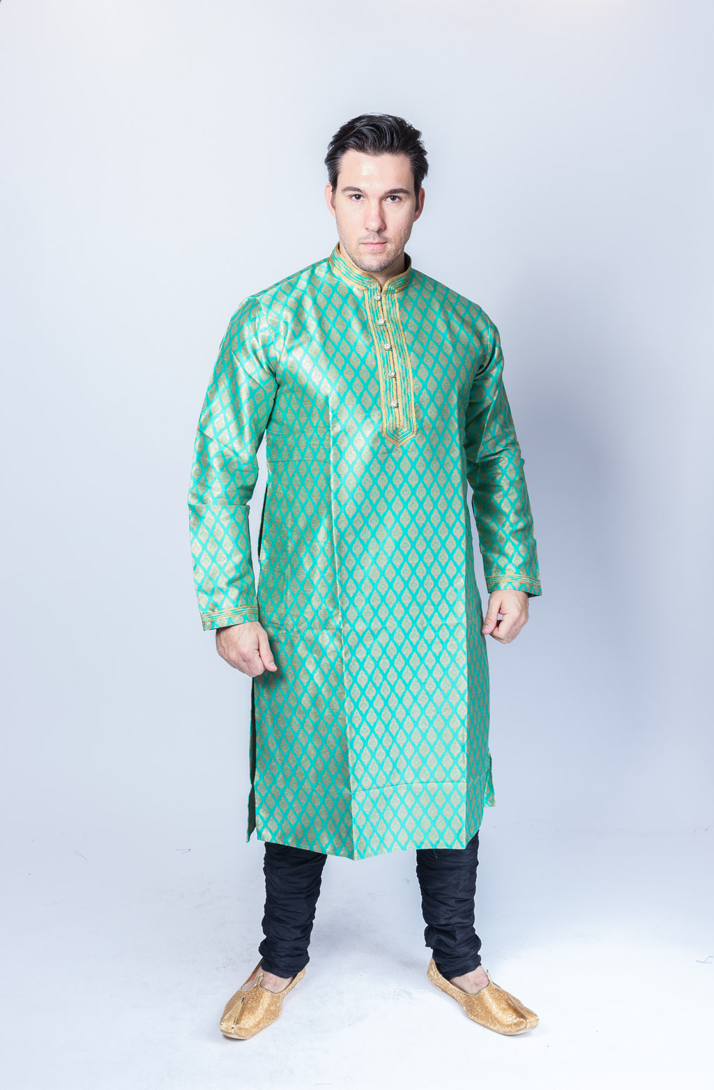 Silk Brocade Jade Green Men's Kurta