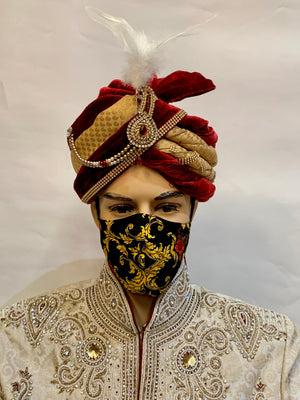 Unisex Designer Black Printed Cloth Face Masks