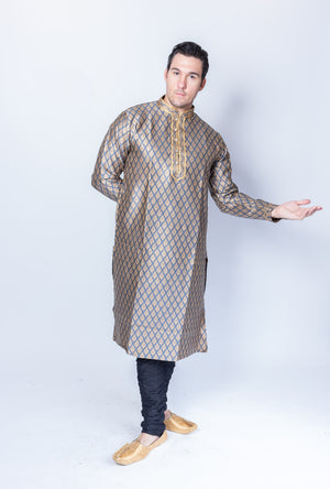 Silk  Brocade Pigeon Blue Men's Kurta