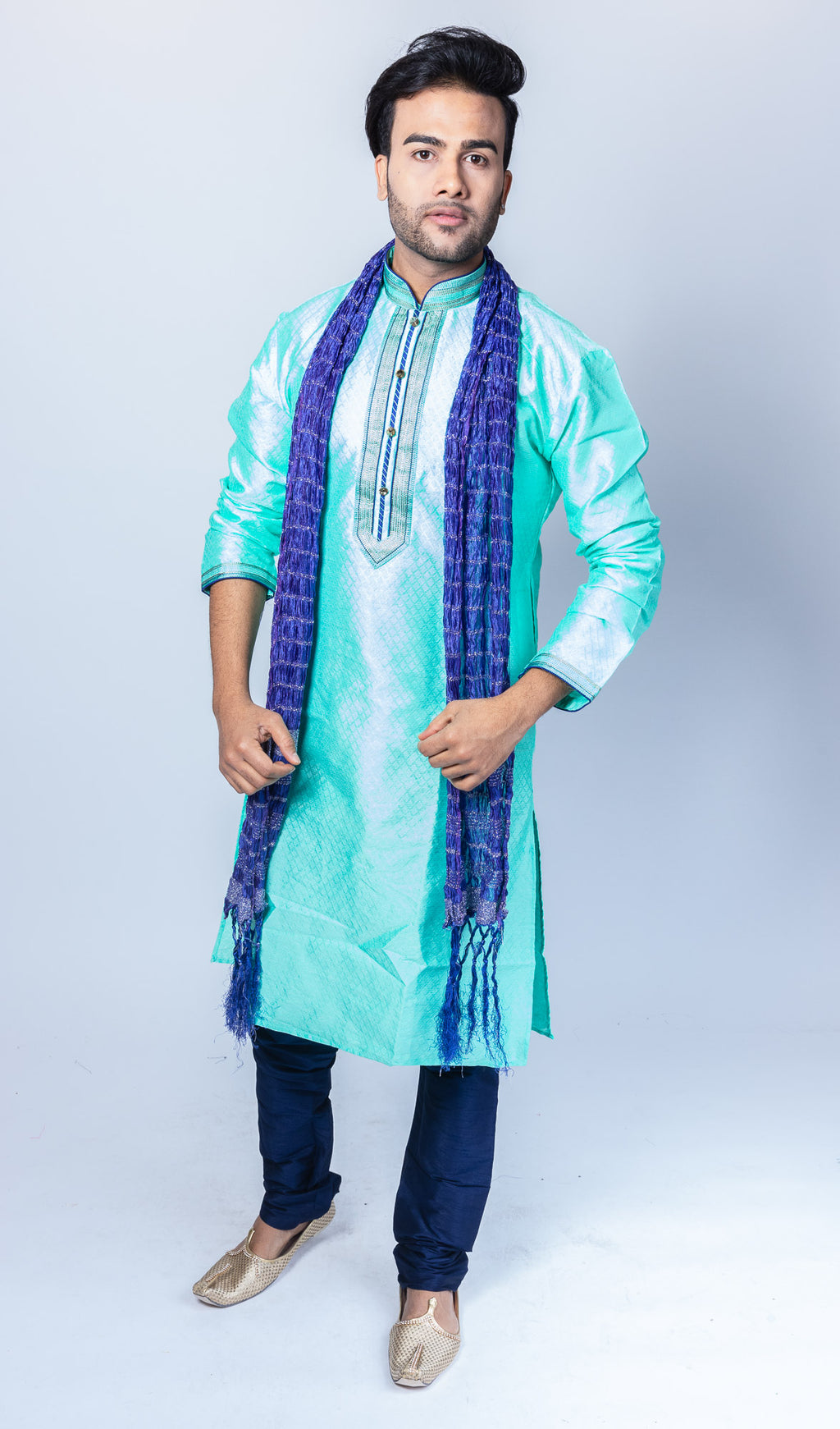 Silk Turquoise Blue Men's Kurta