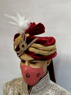 Unisex Designer Fire Brick Red Printed Cloth Face Masks