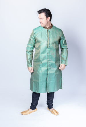 Silk Brocade Turquoise Blue All Button Down Men's Kurta