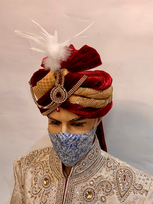 Unisex Designer Blue on white Printed Cloth Face Masks