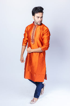 Silk Salamander Orange Men's Kurta