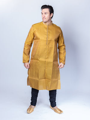 Silk Mustard Yellow All Button Down Men's Kurta