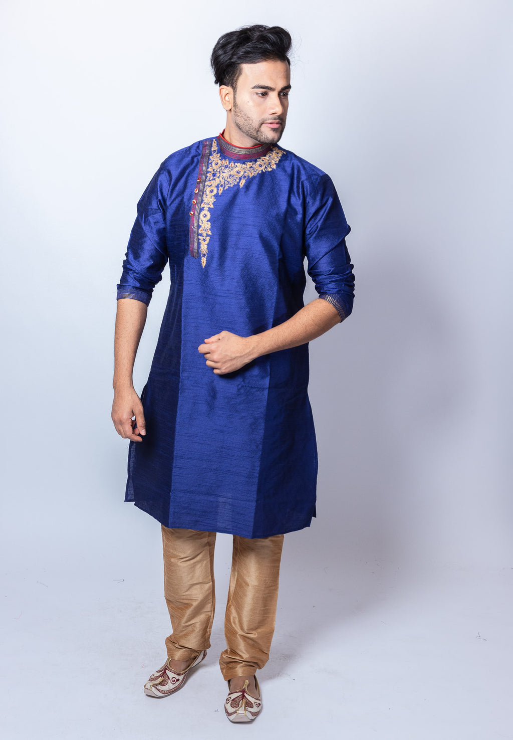 Silk Embroidered Navy Blue Men's Side Button Kurta