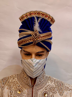 Unisex Designer White With Green & Blue Striped Cotton Cloth Face Masks