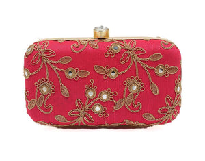 Fuchsia Zari Embroidered Paisley Clutch