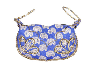 Silk Brocade Blue Bangle Potli Purse