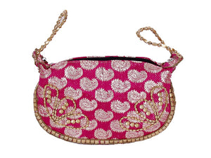 Fuchsia Silk Brocade Bangle Potli Purse