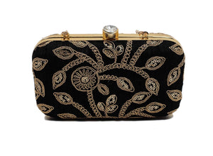 Black Zari Embroidered Clutch