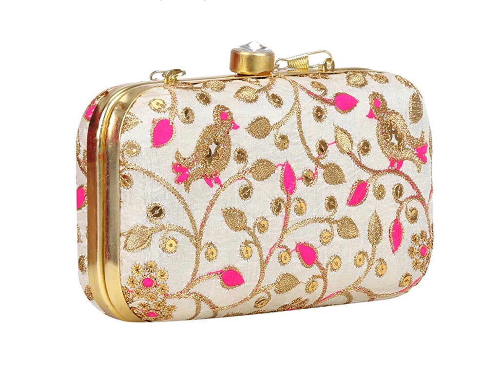 Off White with Pink & Gold Zari Embroidered Clutch