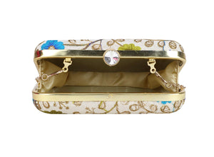 Off White with Blue & Green Zari Embroidered Clutch