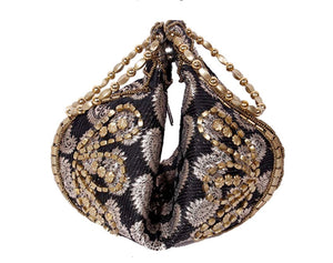 Black Silk Brocade Bangle Potli Purse